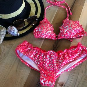 Victoria's Secret coral and silver string bikini